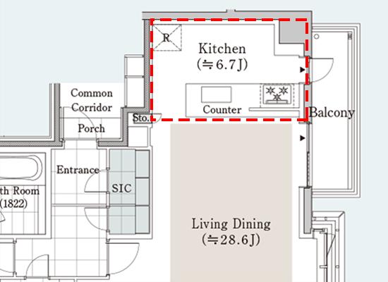 キッチン部分の平面図