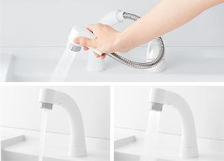ホースが引き出せるハンドシャワー TOTO Vシリーズ蛇口の特徴