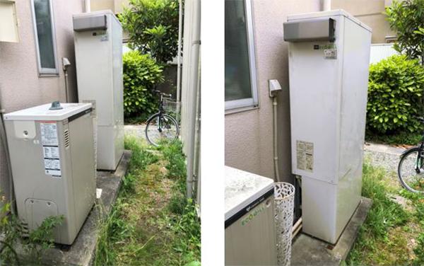 大阪ガス製のエコウィルからふろ給湯器への交換工事の様子をご紹介