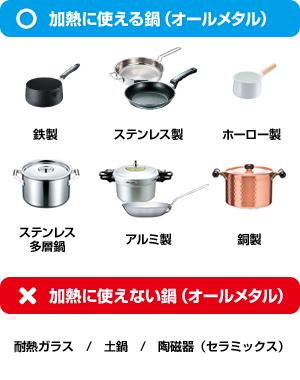 オールメタル対応IHクッキングヒーターで使える鍋使えない鍋